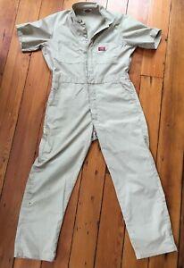 "Vintage Dickies Khaki Mechanics Jumper Coveralls Jumpsuit 45"" Chest 28"" Inseam"