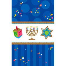 """54"""" x 108"""" Hanukkah Celebrations Party Blue Plastic Table Cover"""