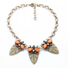 Rose & Peony British Statement Necklace Green Golden Coral Orange leaves