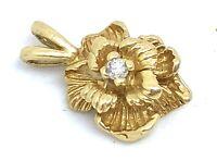 14k Yellow Gold Designer Diamond Solitaire Flower Floral Pendant
