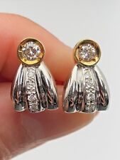 18K Two Tone Gold Half Bow Design Stud Earrings with 0.50CTW Natural Diamonds