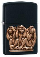 Zippo Three Monkeys Black Matte Windproof Pocket Lighter, 29409
