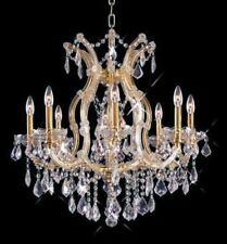 World Capital Maria Theresa 9 Light Dining Crystal Chandelier in Gold