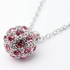 Pink Genuine Austrian Crystal Sphere Pendant Necklace 18Ct White Gold Plated UK