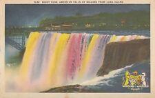 American Falls Luna Island NIAGARA FALLS NY 1930-40s Canadian Patriotic Postcard