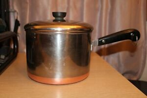 REVERE WARE Copper Clad Bottom Pre-1968 Sauce Pan Patent Riverside Vintage USA
