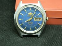Man-watch-vintage-ORIENT-3-stars-automatic-21-jewels-crystal-Japan-blue-dial