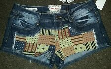 Hot Kiss Nwt Juniors Sz 11 American Flag Patriotic Patch Shorts Sexy New w/Tags