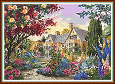 "'ROMANTIC MANOR HOUSE' Cross Stitch Chart (22""x16"") Detailed/Garden/Flowers NEW"