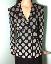 Giorgio Armani Black & White Rib Knit Double-Breasted Polka Dot Blazer L XL I 50