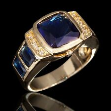 Nobby Size 8,9,10,11 Mens 18K Gold Filled Blue Sapphire Fashion Engagement Rings