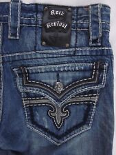 Rock Revival Jeans Richie Straight Fleur Flap Men's Size 30 Medium Distressed 33