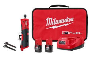 Milwaukee-2486-22 M12 FUEL Straight Die Grinder 2 Battery Kit Brand New!