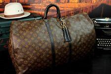 """LOUIS VUITTON Authentic Large 23""""  Monogram Black Leather Duffle Travel Bag Men"""
