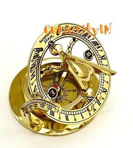 Solid Brass Sundial Compass - West London- Pocket Sundial