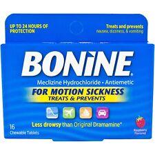 Bonine adulto para el mareo en los viajes - 16 comprimidos masticables con sabor a frambuesa