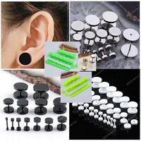 Pick Gauge Flat Round Ear Stud Fake Cheater Barbell Rings Piercing Mens Earrings