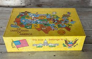 Vtg General Box Co School Pencil Box 70s 80's United States Of America Map