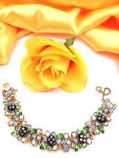Posh Vtg JULIANA Coralane Infused Polka Dot Bead & Colorful Rhinestone Bracelet