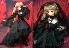 1/3 bjd Dollfie Dream Doll DDdy outfits black bridal dress#SEN-50DY ship US