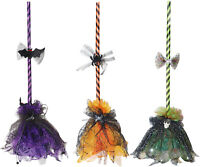3-PC Spooky Shaking Broom Colorful Set Purple Orange Green Halloween Prop Decor
