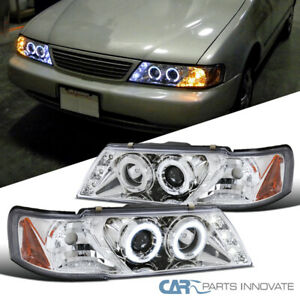 For Nissan 95-99 Sentra 200SX Clear LED DRL Halo Projector Headlights Head Lamps