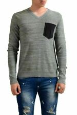 Just Cavalli Men's Pocket V-Neck Linen Light Sweater US M IT 50