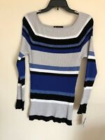 New INC Women's Long Sleeve Square Neck Pullover Sweater Blue Multi  V52
