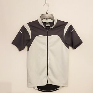 Nike Sphere Dry Mens Cycling Jersey Size Small Grey and White DriFit Full Zip