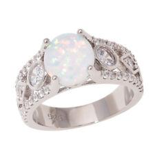 Rainbow Topaz CZ Silver for Women Fashion Jewelry Gemstone Ring Size 6-9 NJ52