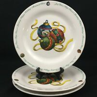 """Set of 3 Dinner Plates 10 1/2"""" by Atico CHRISTMAS ORNAMENT Yuletide Traditions"""