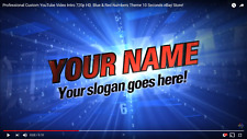 Professional Custom YouTube Video Intro 720p HD. Blue & Red Numbers Theme 10 Sec