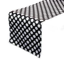 14 x 108 inch Satin Table Runner Black/White Polka Dot