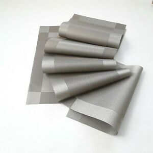 Vynil Grey 6 Piece set Table Placemats