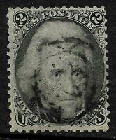 Sc #73 Blackjack Light Target Cancel 2 Cent 1861-62 Civil War US Stamp 1B12
