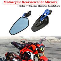 Blau Universal 7/8″ 22MM Motorrad ATV Quad Lenkerspiegel Lenkerendenspiegel