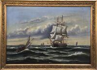Navy Oil Painting around 1900 - Sailing Ships on the Sea - Gründerzeit Frame