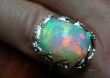 Opal Diamond Ring Natural White Gold 14K GIA Certified 13.56CTW RETAIL $13,800