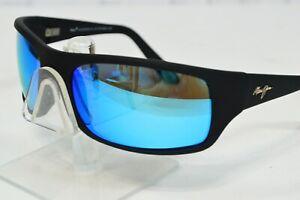Maui Jim Peahi Matte Black Wrap Sunglasses MJ-202-2M Fuse Polarized Glacier Lens