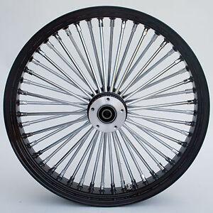 "Black/Chrome Ultima 48 King Spoke 21"" x 3.5"" Front Dual Disc Wheel for Harley"