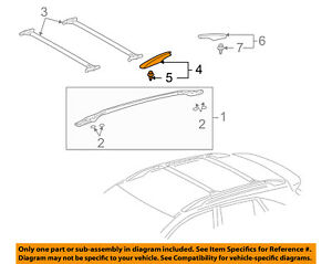 63491-0E010 Toyota Cover, roof rack leg, front rh 634910E010, New Genuine OEM Pa
