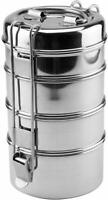 Lunch Box Stainless Steel 4 Tier Indian Food Container Carrier Round Tiffin Set