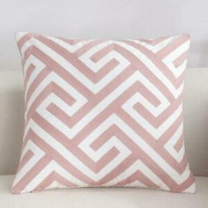 Pink White Maze Square Scandinavian embroidery Indoor Decor cushion cover 18