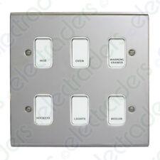 Deta Kitchen Grid Switch Polished Chrome / White Switches - 6 Gang