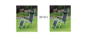 2 x Heavy Duty Textilene Zero Gravity Garden Reclining Chair Sun Lounger Black