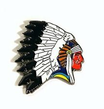 Red Indian Chief Head enamel pin - lapel badge Biker Cowboys & Indians Chieftain