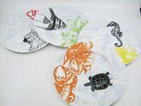 4 pcs Tropical Salad Plates Porcelain Turtle Fish Seahorse Japan Bird Backstamp