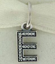 Authentic Pandora 791317CZ Initial E Letter Sterling Silver Pendant Charm