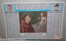 VECCHIO CALENDARIETTO 1968 SANT ANTONIO PROTEGGIMI DA BARBIERE CALENDARIO DI E