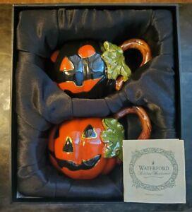 Rare Waterford Holiday Heirlooms Pumpkin Halloween Mugs - Sef Of 2 - IN BOX